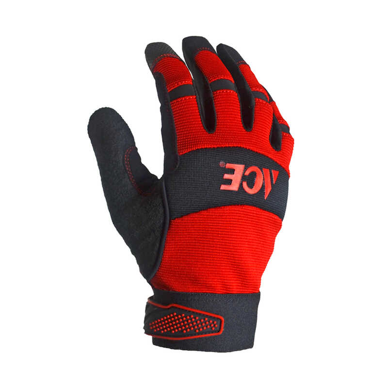 Ace  Men's  Indoor/Outdoor  Synthetic Leather  General Purpose  Work Gloves  Red  L