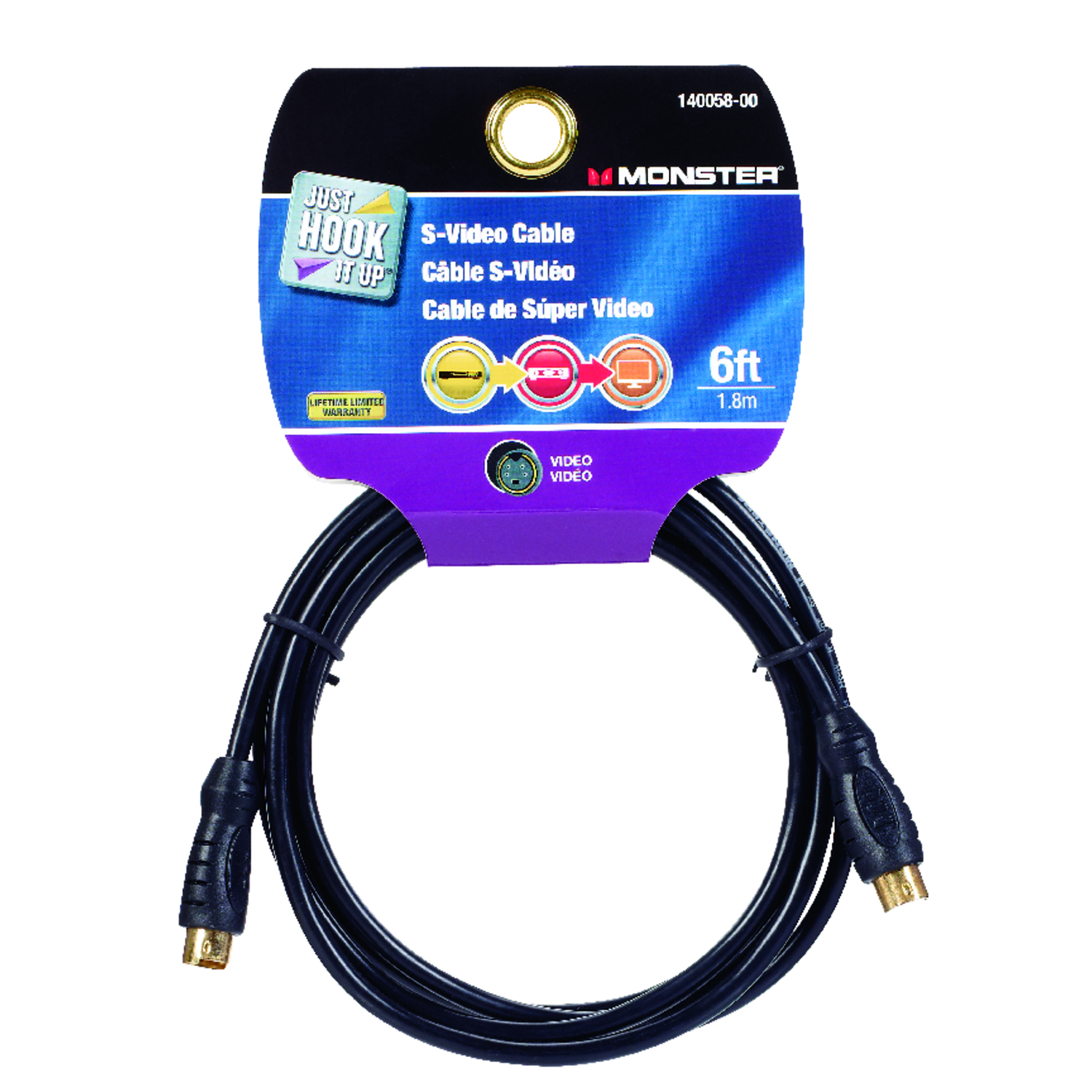 Monster Cable  Just Hook It Up  6 ft. L S-Video Cable  RCA