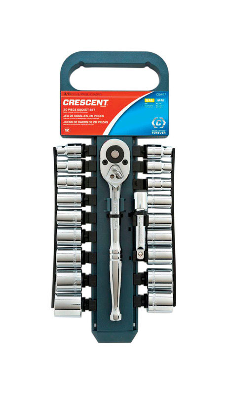 Crescent  3/8 in.  Metric and SAE  6 and 12  Socket Wrench Set  20 pc.
