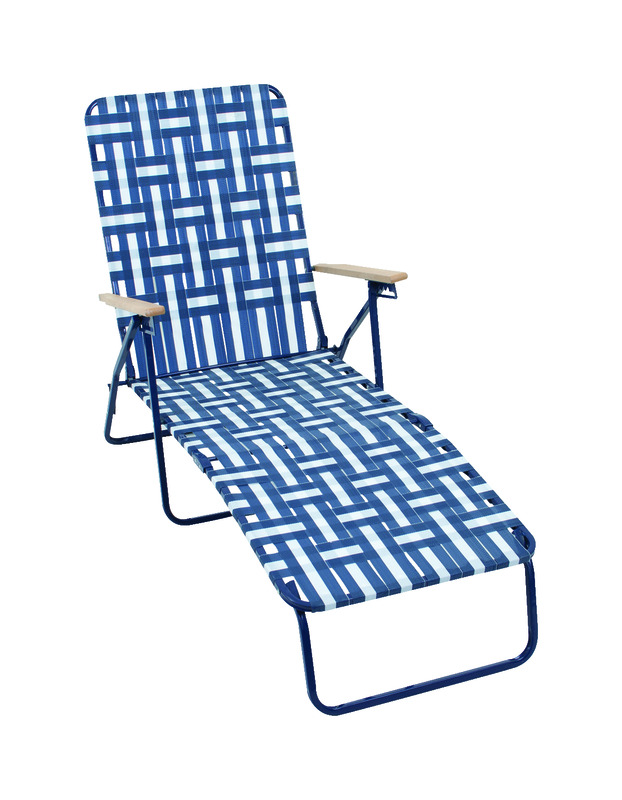 Rio Brands  Blue  Steel  Adjustable Backrest Web Chaise Lounge  Foldable