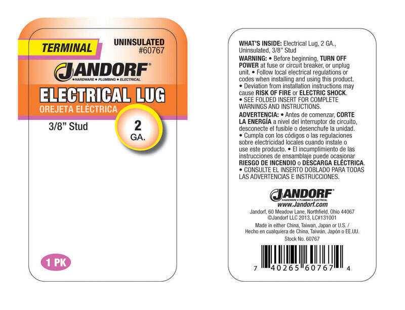 Jandorf  Uninsulated Wire  1 pk 2 Ga. Electrical Lug