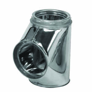 Selkirk  12-3/4 in.  x 6-3/8 in.  x 6-3/8 in.  Stainless Steel  Stove Pipe TeeTee CapFlow TeeChimney