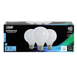 Feit Electric  Enhance  G25  E26 (Medium)  Filament LED Bulb  Daylight  60 Watt Equivalence 3 pk