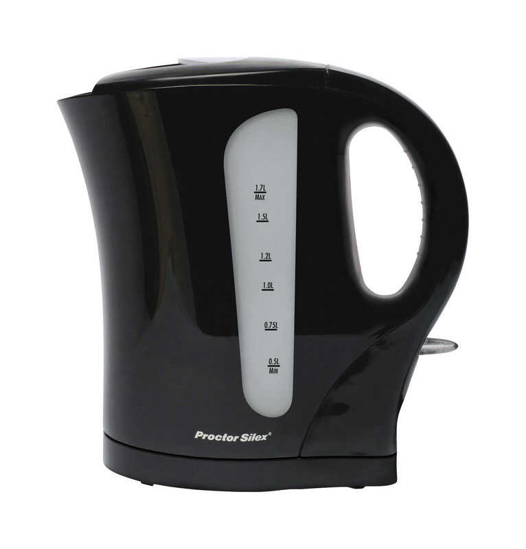 Proctor Silex  Black  Glass/Plastic  1.7 L Electric Tea Kettle