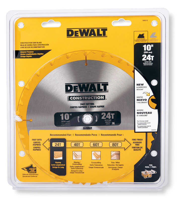 DeWalt  10 in. Dia. x 5/8 in.  Construction  Circular Saw Blade  Carbide Tipped  24 teeth 1 pk