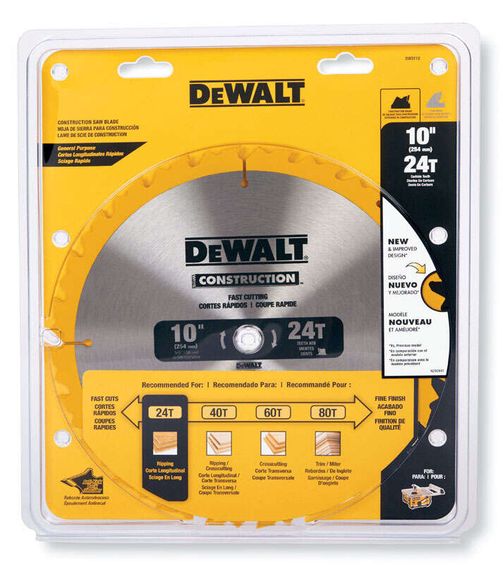 DeWalt  0.069 in.  Carbide Tipped  Construction  Circular Saw Blade  10 in.  24 teeth 1 pk 5/8 in.
