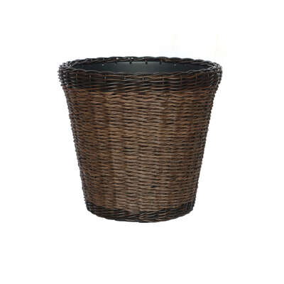 Infinity  15 in. H x 17 in. Dia. PP Plastic  Woven Wicker  Planter  Brown