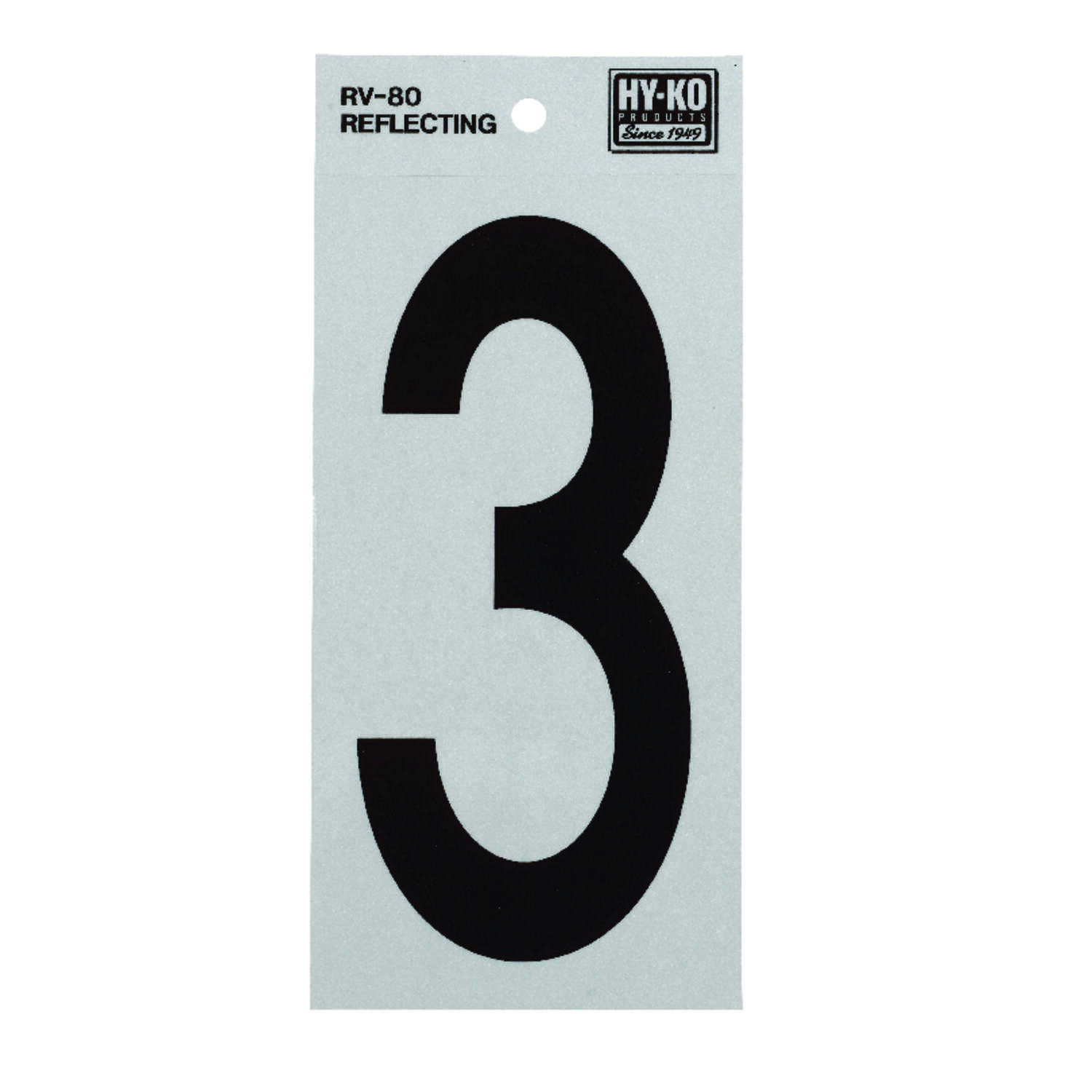 Hy-Ko  6 in. Vinyl  Reflective 3  Black  Self-Adhesive  Number