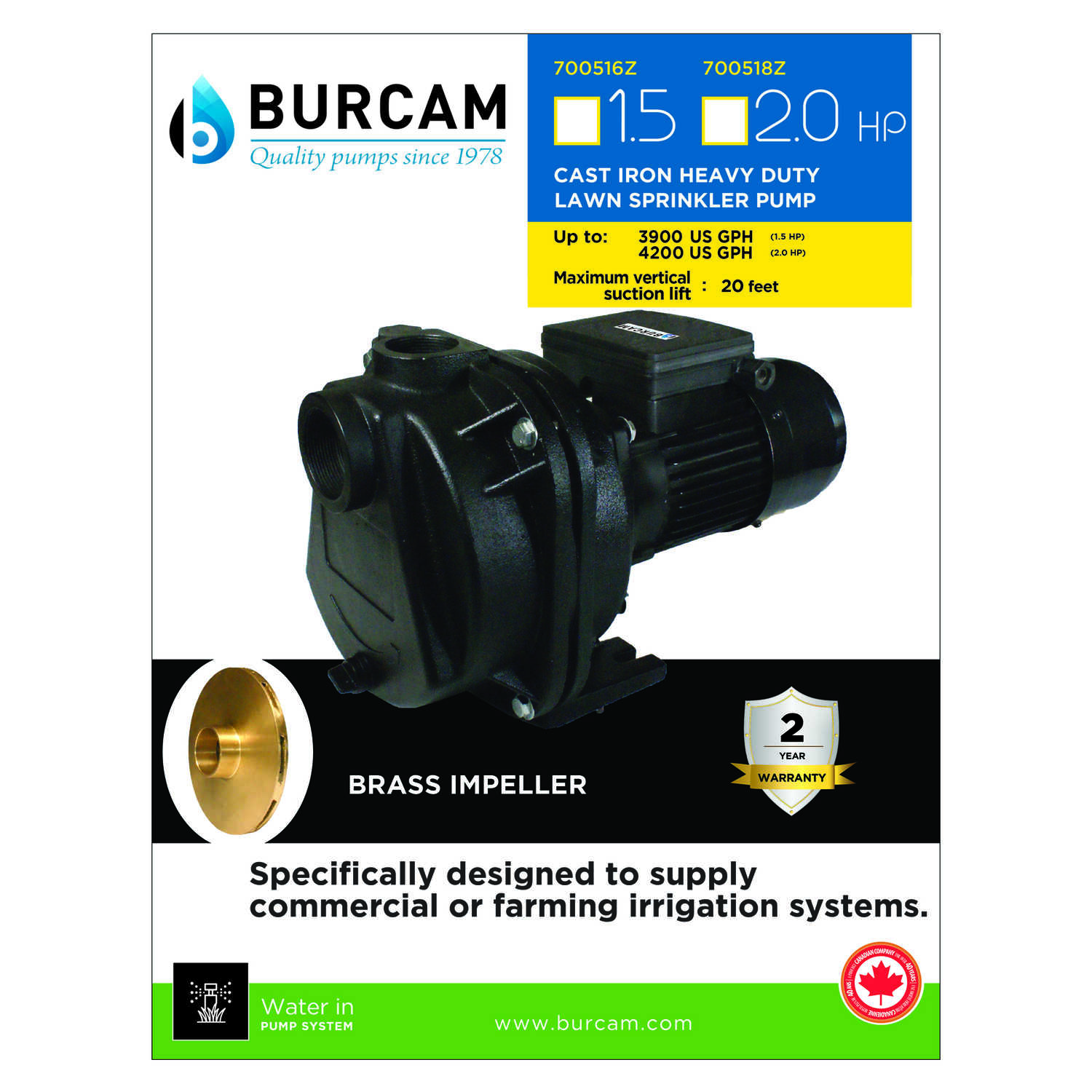 Burcam  Cast Iron  Sprinkler Pump  2 hp 4200 gph