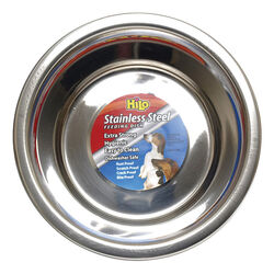 Hilo  Silver  Plain  Stainless Steel  1 qt. Pet Dish  For Dogs