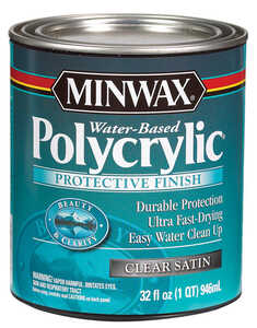 Minwax  Satin  Clear  Satin  Indoor  1 qt. Polycrylic