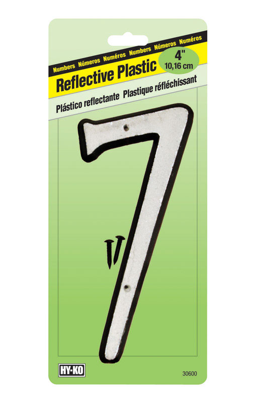 Hy-Ko  4 in. Reflective 7  Number  Nail-On  Plastic  White