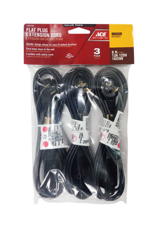 Ace  Indoor  6 ft. L Black  Extension Cord  16/2 SPT-2