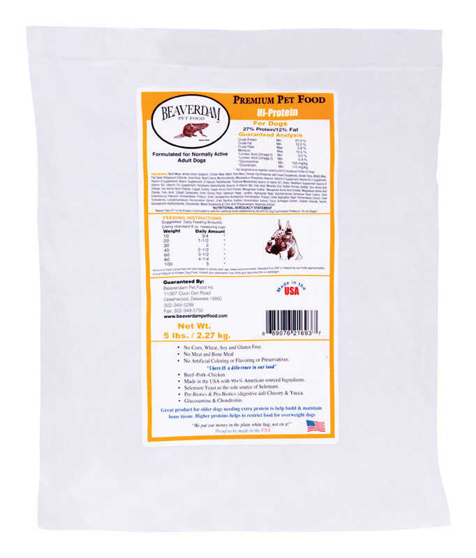 Beaverdam  Hi-Protein Yellow Label  Pork and Chicken  Dry  Dog  Food  5 lb