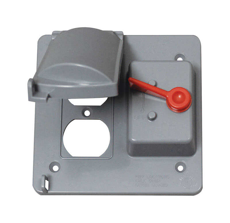 Sigma  Square  Plastic  2 gang Weatherproof Cover  For 1 Toggle Switch, 1 Toggle Switch