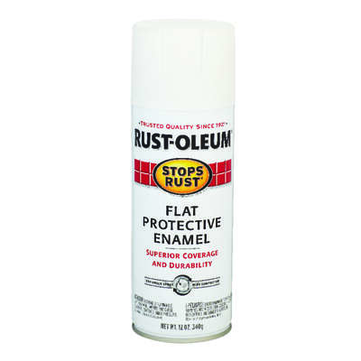 Rust-Oleum  Stops Rust  Flat  White  Spray Paint  12 oz.
