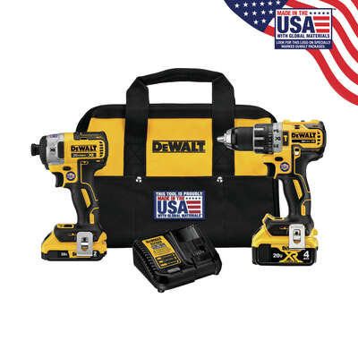 DeWalt  XR  Cordless  Brushless 2 tool Hammer Drill and Impact Driver Kit  20 volt