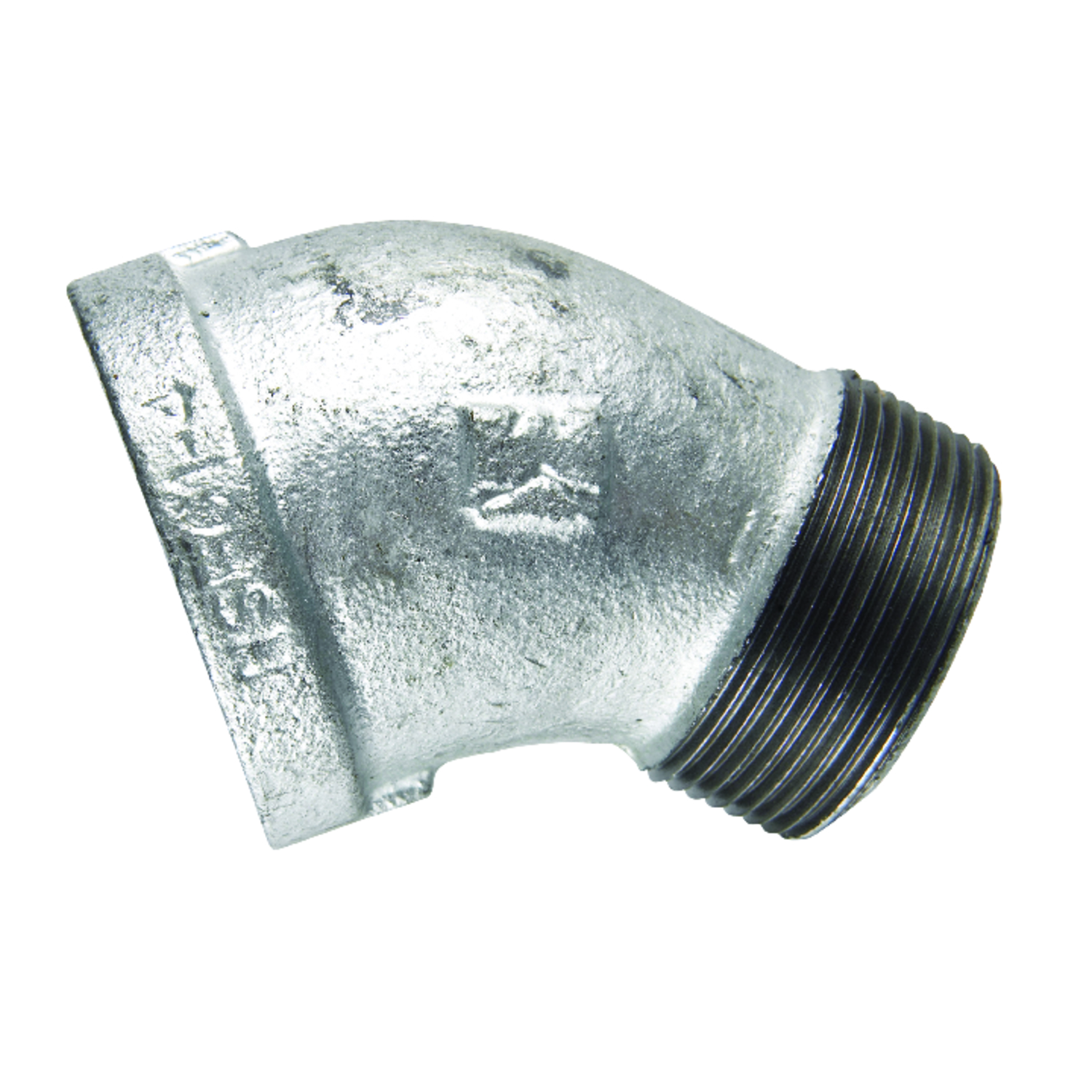 B & K  2 in. FPT   x 2 in. Dia. MPT  Galvanized  Malleable Iron  Street Elbow