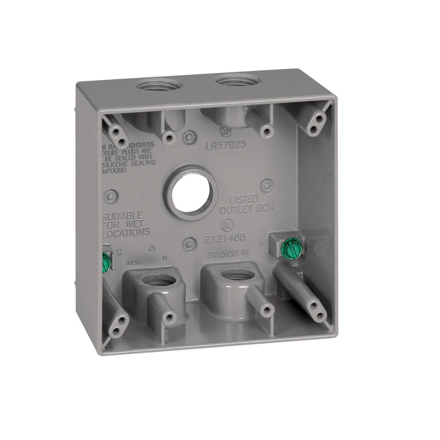 Sigma  4-1/2 in. Aluminum  2 gang Outlet Box  Gray  Square  2 Gang