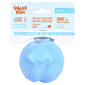 West Paw  Zogoflex  Blue  Jive Ball  Synthetic Rubber  Dog Toy  Medium