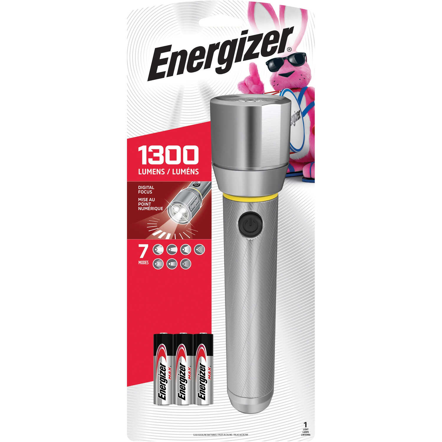 Energizer  1300 lumens Gray  LED  Flashlight  AA Battery