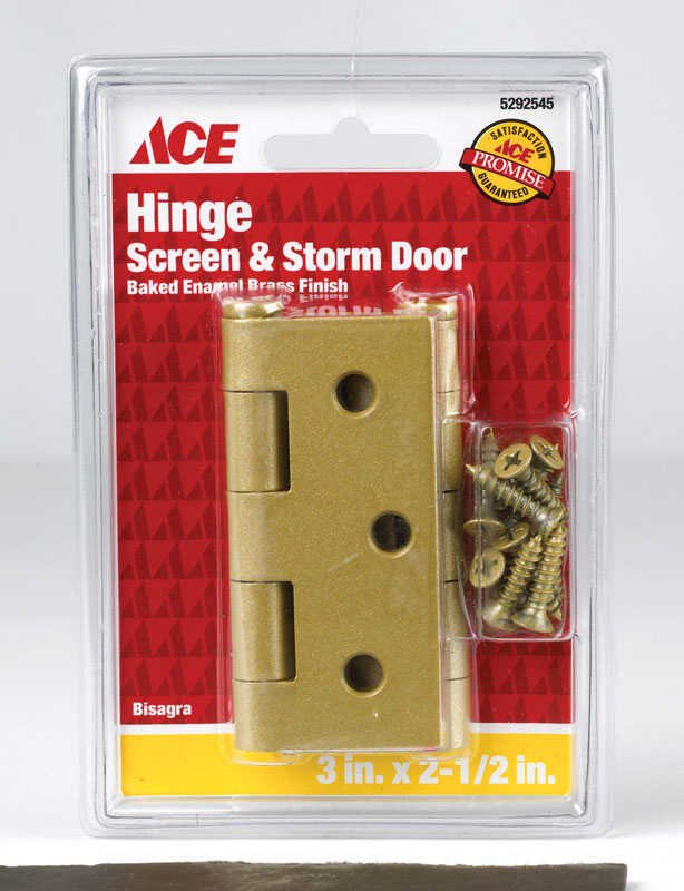 Ace  3 in. L Satin Brass  Brass  Screen/Storm Door Hinge  2 pk