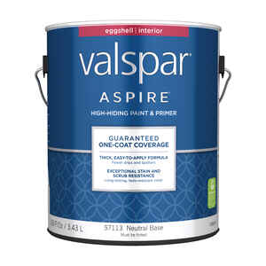 Valspar  Aspire  Eggshell  Tintable  Neutral Base  Acrylic Latex  Paint and Primer  Indoor  1 gal.