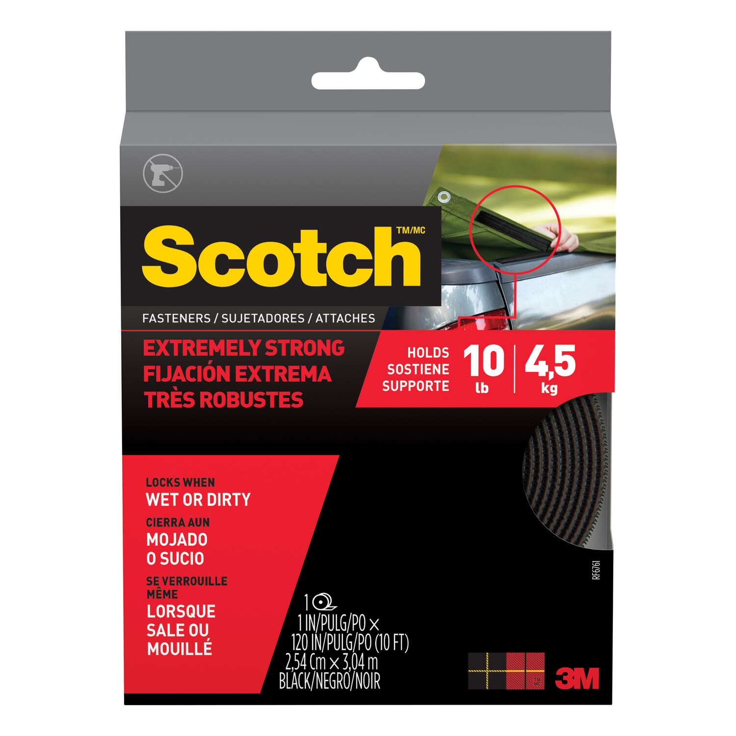 3M  Scotch  Medium  Foam  2 in. L 1 pk Hook and Loop Fastener