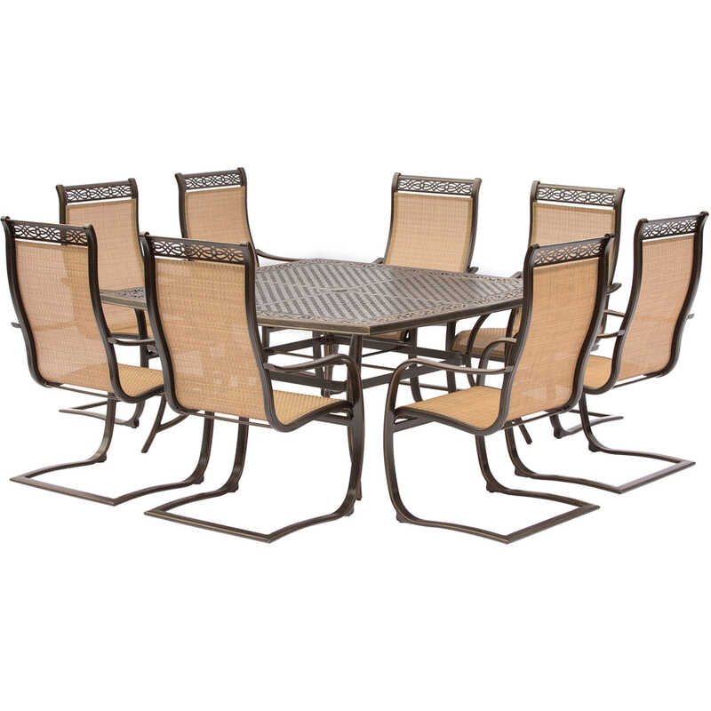 Hanover  Manor  9 pc. Brown  Aluminum  Dining  Patio Set