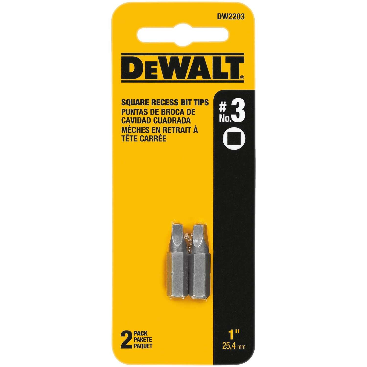 DeWalt Square Recess #3 in. x 1 in. L Screwdriver Bit Heat-Treated Steel 2 pc.
