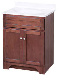 Foremost  Columbia Collection  Single  Semi-Gloss  Brown  Vanity and Top  35-1/2 in. H x 24 in. W x