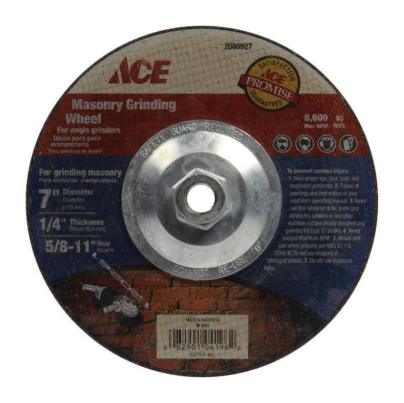 Ace  1/4 in. thick  x 5/8 in.   x 7 in. Dia. Masonry Grinding Wheel  8600 rpm 1 pc. Aluminum Oxide