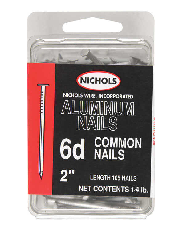 Nichols Wire  6D  2 in. L Common  Aluminum  Nail  Smooth Shank  Round  1/4 lb.