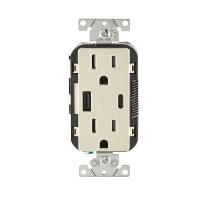 Leviton Decora 15 amps 125 volt Light Almond Outlet and USB Charger 5-15R 1 pk