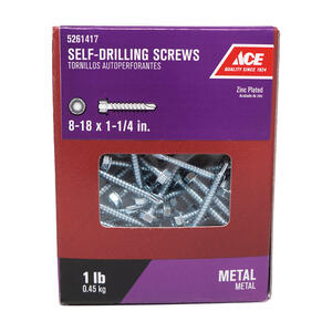 Ace  8-18 Sizes  x 1-1/4 in. L Hex Washer Head Zinc-Plated  Steel  Self- Drilling Screws  1 lb.