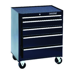 Craftsman  26 in. 5 drawer 18 in. D Rolling Tool Cabinet  Black  Steel