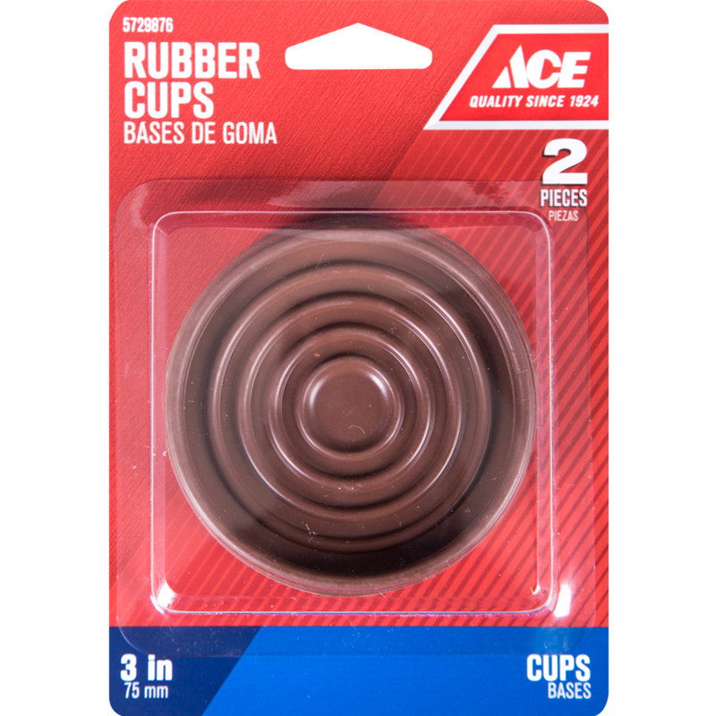 Ace  Rubber  Caster Cup  Brown  3 in. W x 3 in. L 2 pk Round