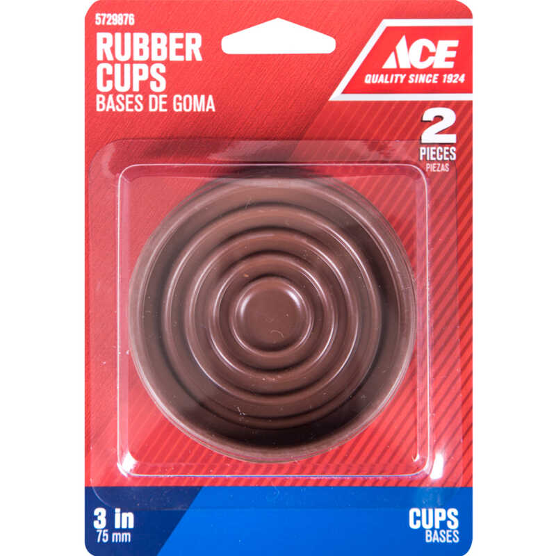 Ace  Rubber  Caster Cup  Brown  Round  3 in. W x 3 in. L 2 pk