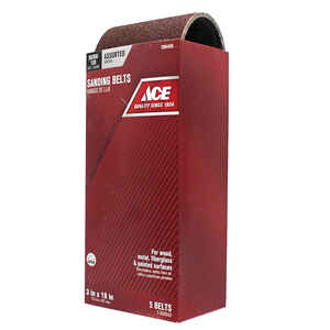 Ace  18 in. L x 3 in. W Aluminum Oxide  Sanding Belt  Assorted  5 pk