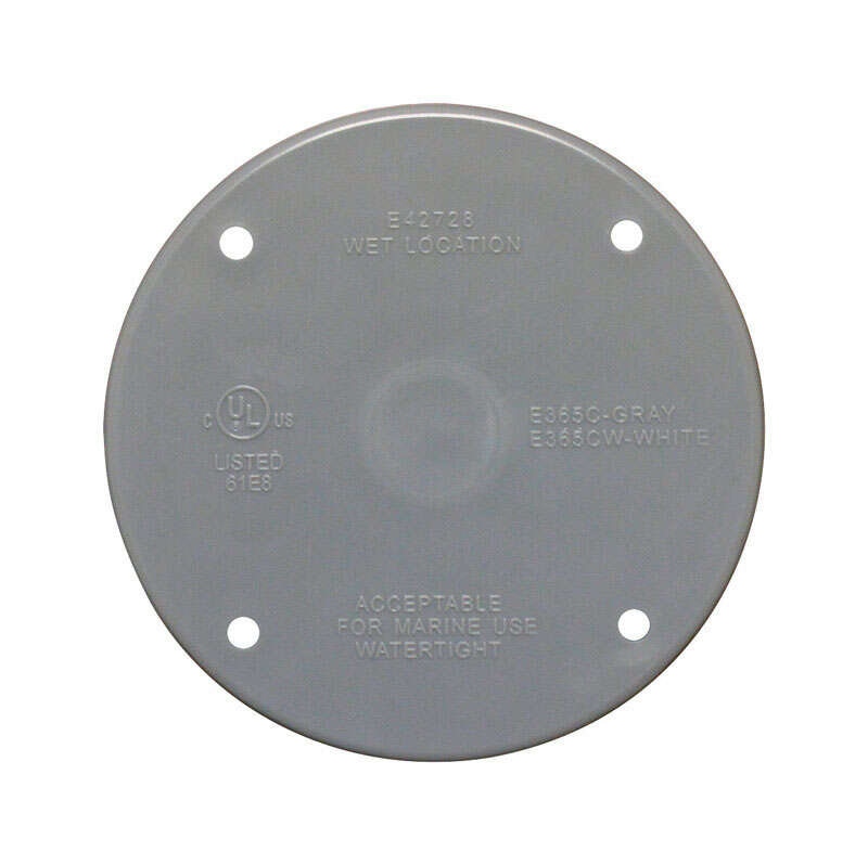 Sigma Electric  Round  Plastic  Flat Box Cover  For Wet Locations