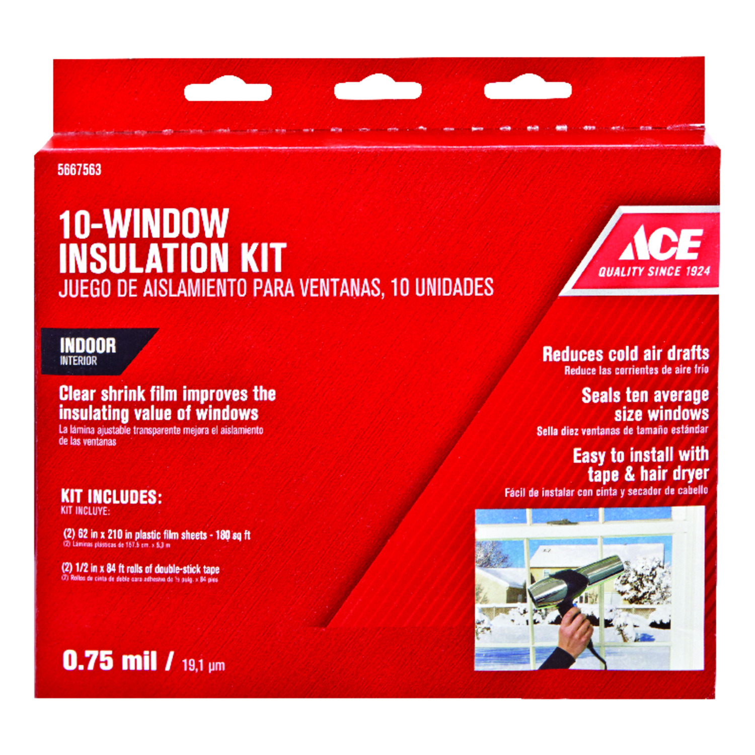 Ace  Clear  Indoor  Window Film Insulator Kit  62 in. W x 210 in. L