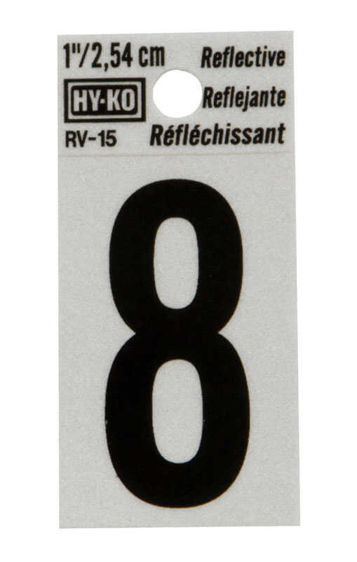 Hy-Ko  1 in. Reflective Black  Vinyl  Number  8  Self-Adhesive  1 pc.