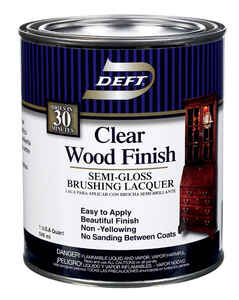 Deft  Wood Finish  Semi-Gloss  Clear  Oil-Based  Brushing Lacquer  1 qt.