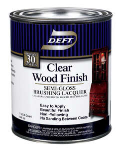 Deft  Clear Wood Finish  Semi-Gloss  Oil-Based  Lacquer  Brushing Lacquer  Clear  1 gal.