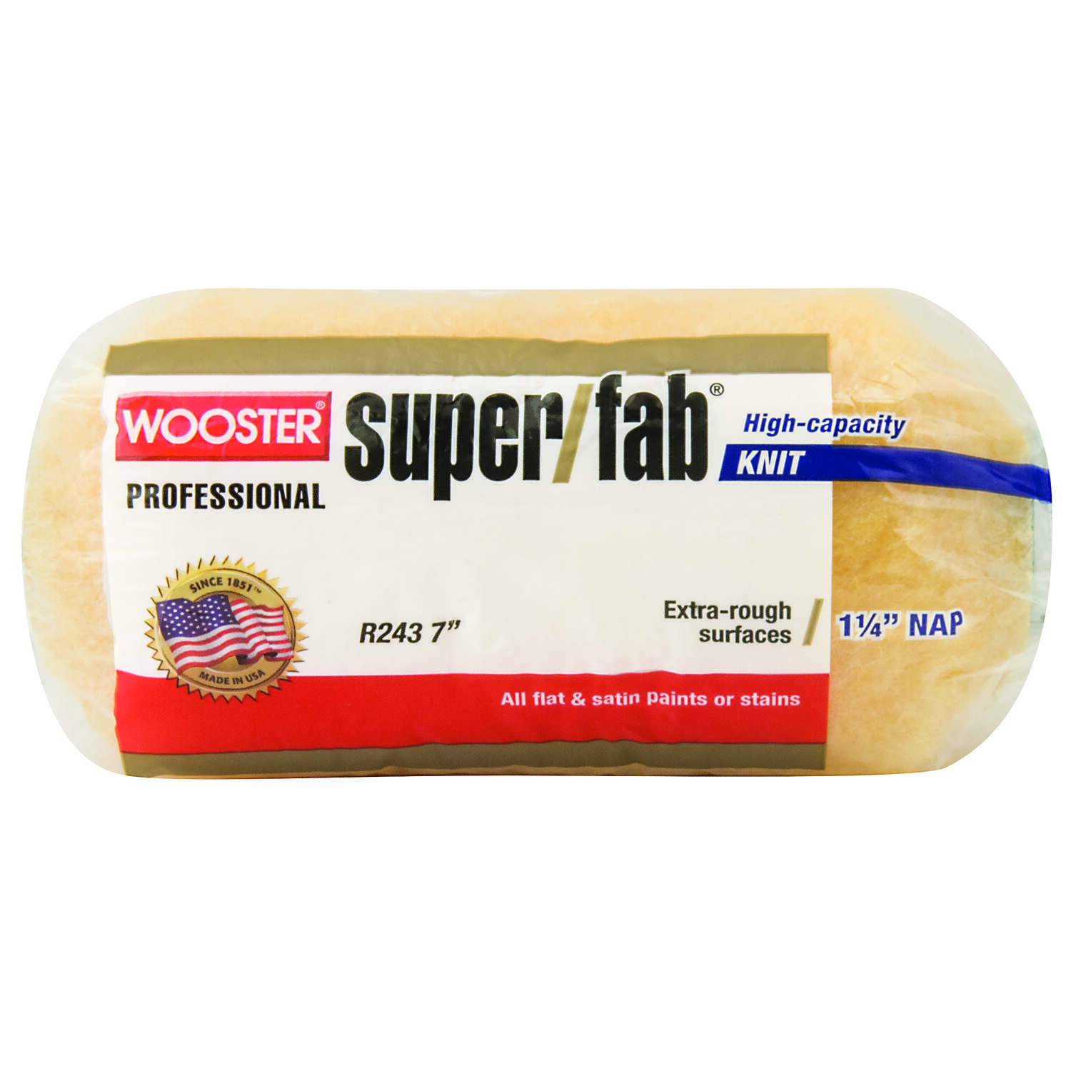 Wooster  Super/Fab  Knit  1-1/4 in.  x 7 in. W Regular  Paint Roller Cover  1 pk