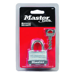 Master Lock  15/16 in. H x 13/16 in. W x 1-1/2 in. L Laminated Steel  Warded Locking  Padlock  1 pk