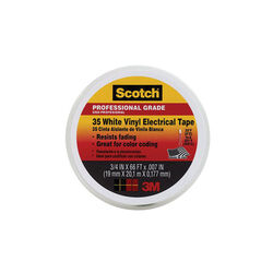 3M  Scotch  3/4 in. W x 66 ft. L White  Vinyl  Electrical Tape