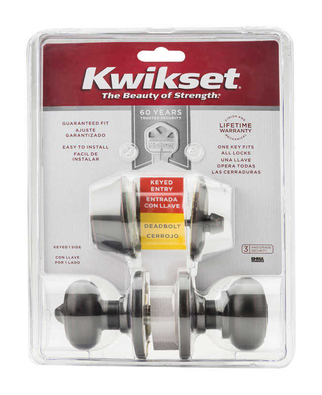 Kwikset  Cove  Venetian Bronze  Steel  Knob and Single Cylinder Deadbolt  ANSI/BHMA Grade 3  1-3/4 i