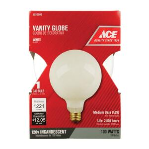 Ace  100 watts G40  Globe  Incandescent Light Bulb  Medium Base (E26)  White (Frosted)  1 pk