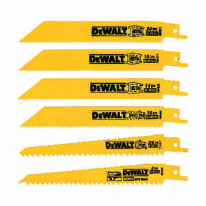 DeWalt  6 in. Bi-Metal  Reciprocating Saw Blade  Multi TPI 6 pk